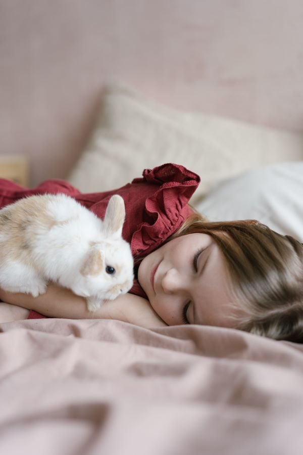 white rabbit and a girl on a bed