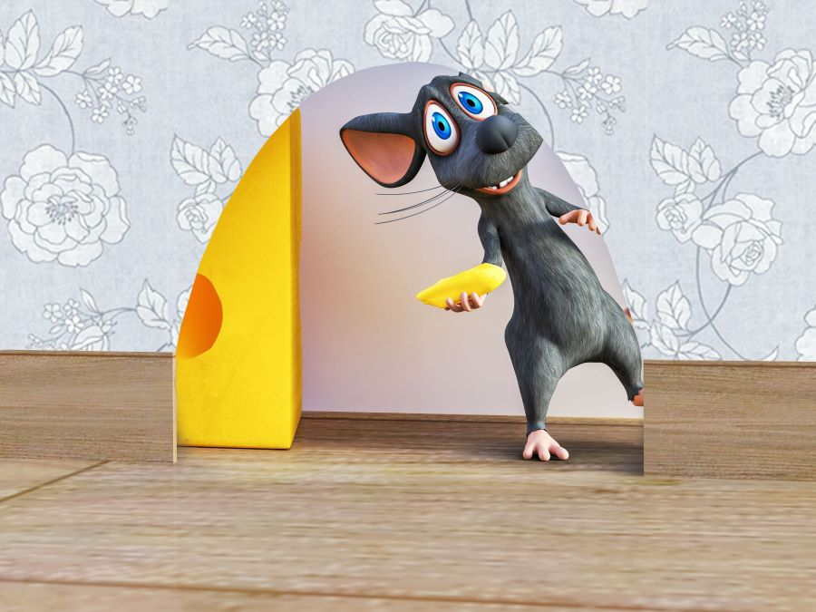 Cartoon mouse in a hole